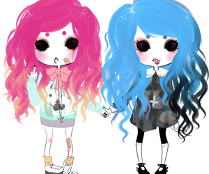 pastel goth, pink, and blue image
