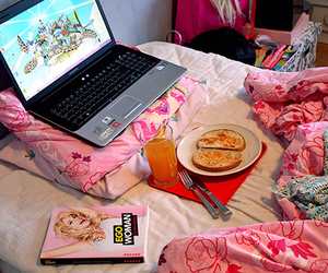 pink, laptop, and bed image