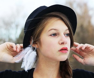 feather, girl, and ear cuff image