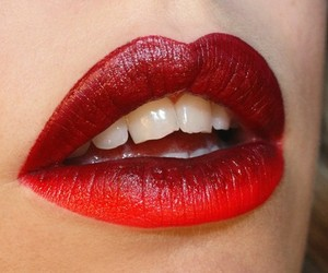 red, lips, and makeup image