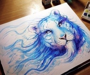 art, blue, and tiger image