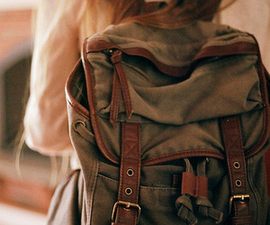 girl, backpack, and bag image