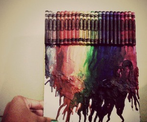 beautiful, rainbow, and melted crayon art image