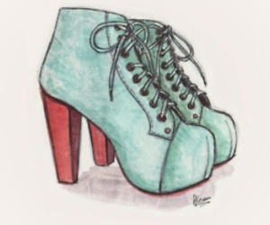 shoes, drawing, and blue image