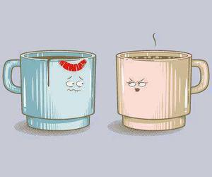 funny, kiss, and cup image