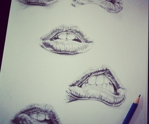 drawing, lips, and pencil image