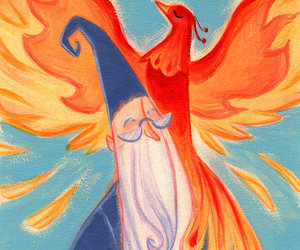dumbledore, harry potter, and phoenix image