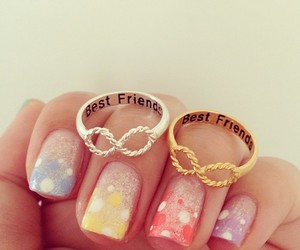 nails, best friends, and rings image
