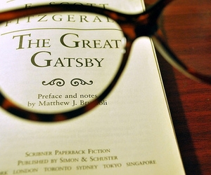 book, the great gatsby, and glasses image