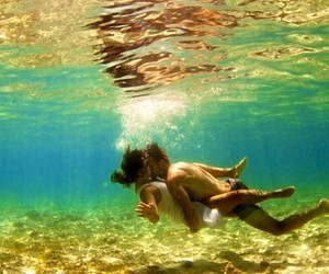 underwater and love image
