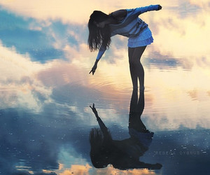girl, water, and sky image
