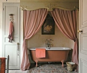 bathroom, vintage, and pink image