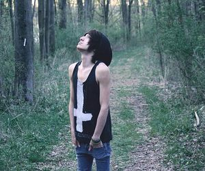 black hair, forest, and male model image
