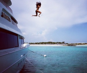 girl, summer, and jump image