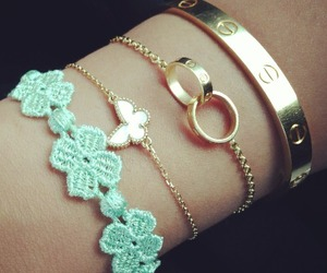 bracelet, gold, and girly image