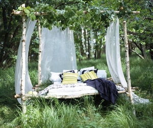 bed, nature, and picnic image