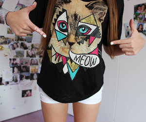 cat, meow, and shirt image