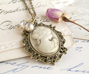 cameo, necklace, and victorian image