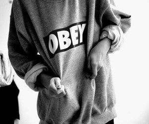 obey, black and white, and swag image