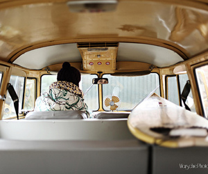 bus, hat, and surfboard image
