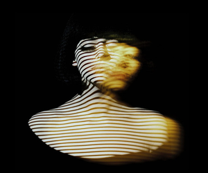 shadow, woman, and stripes image
