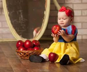 baby, apple, and snow white image
