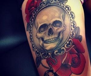 tattoo, skull, and rose image