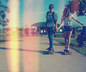 skateboarding, summer, and cute image