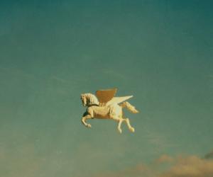 sky, horse, and pegasus image