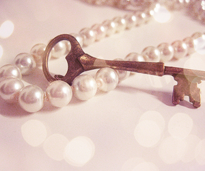 key, pearls, and vintage image