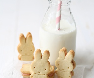 milk, Cookies, and bunny image