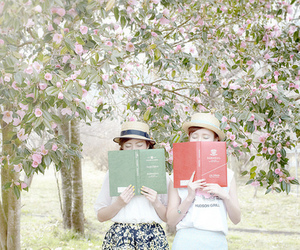 books, flowers, and reading image