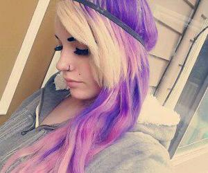purple hair, scene, and colorfull hair image