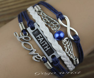 silver wings, infinite love bracelet, and faith bracelet image