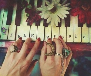 piano, free, and flowers image
