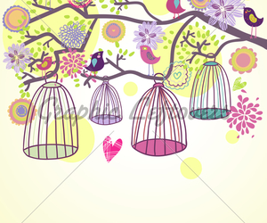 birds, illustration, and cages image