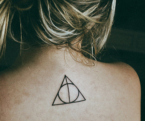 deathly hallows, harry potter, and tatoo image