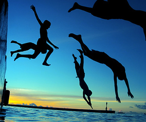friends, jump, and water image