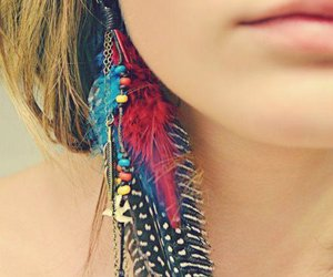 girl, earrings, and feather image