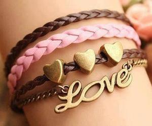 love, bracelet, and pink image