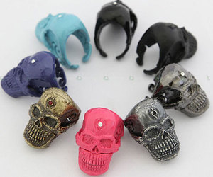 skull, rings, and fashion image