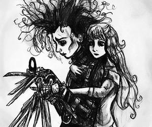 edward scissorhands, black and white, and johnny depp image