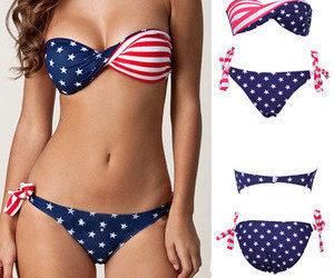 beach, summer, and swim suit image