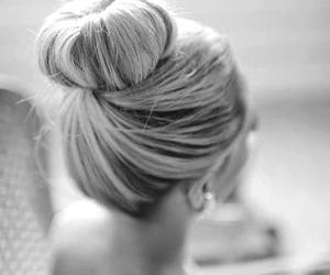 black and white, photography, and bun image