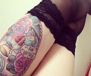 legs, tattoo, and drink me image