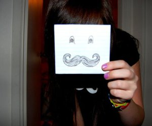 black, mustache, and nails image