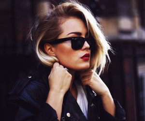 girl, red lips, and sunglasses image