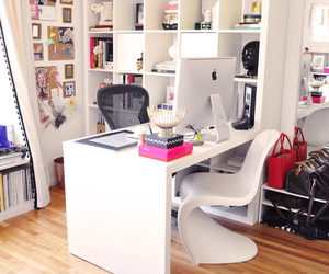 home office, organisation, and pink image