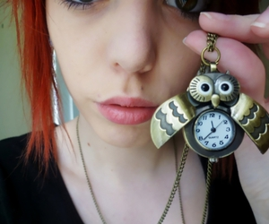 girl, owl, and red hair image