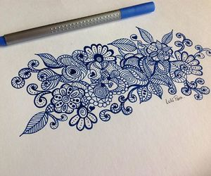 drawing, doodle, and flowers image